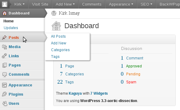 WordPress 3.3 Dashboard Menu